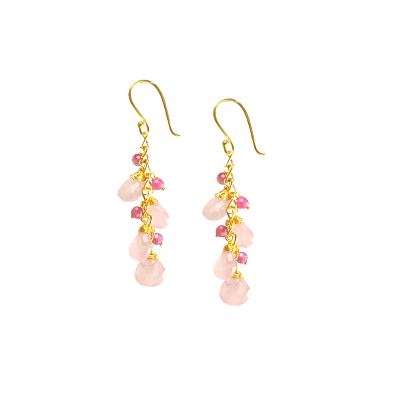 Earrings - Waterfall Drops - Rose Quartz
