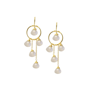 Earrings - Waterfall Circles - Moonstone