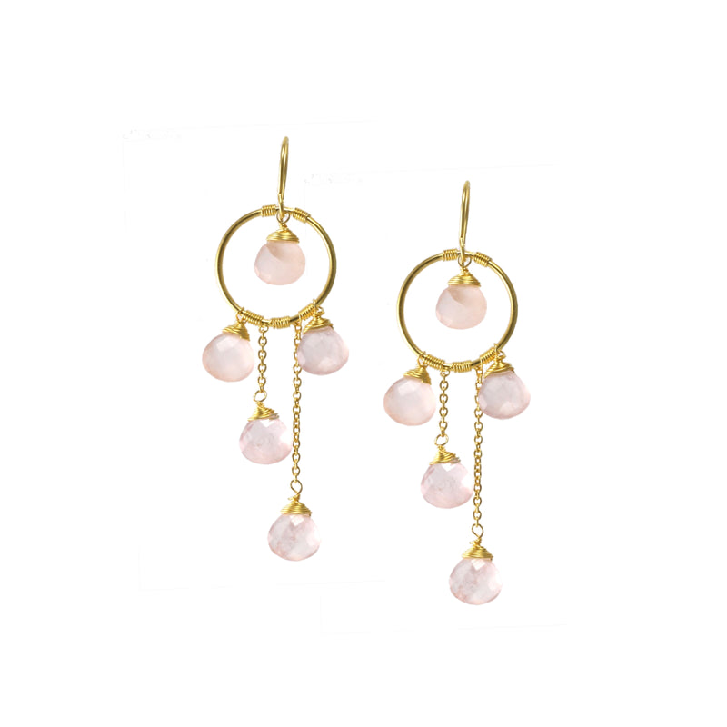 Earrings - Waterfall Circles - Rose Quartz