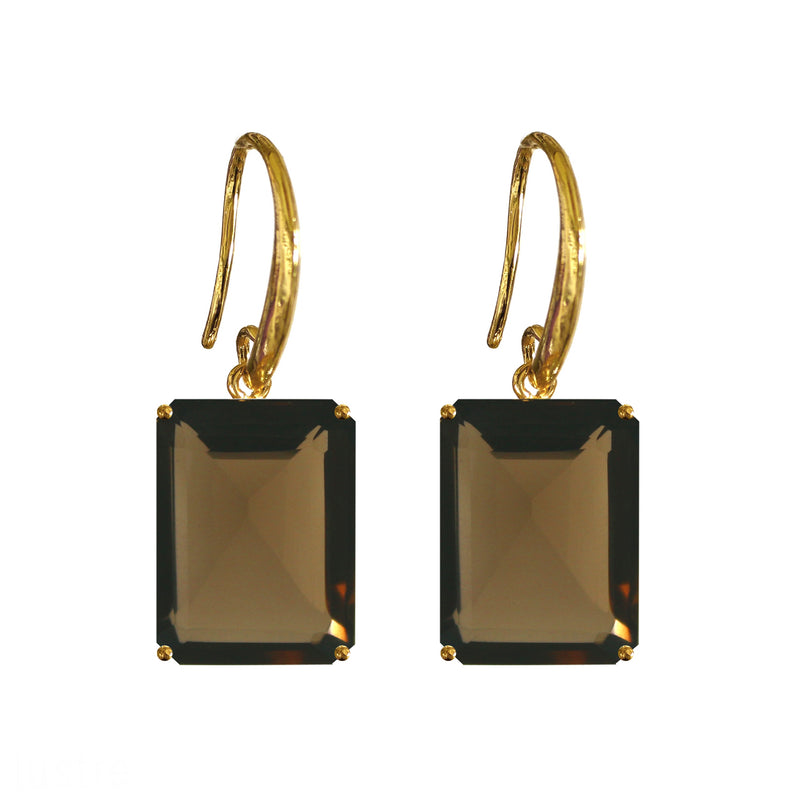Earrings - Emerald cut Smoky Quartz drop