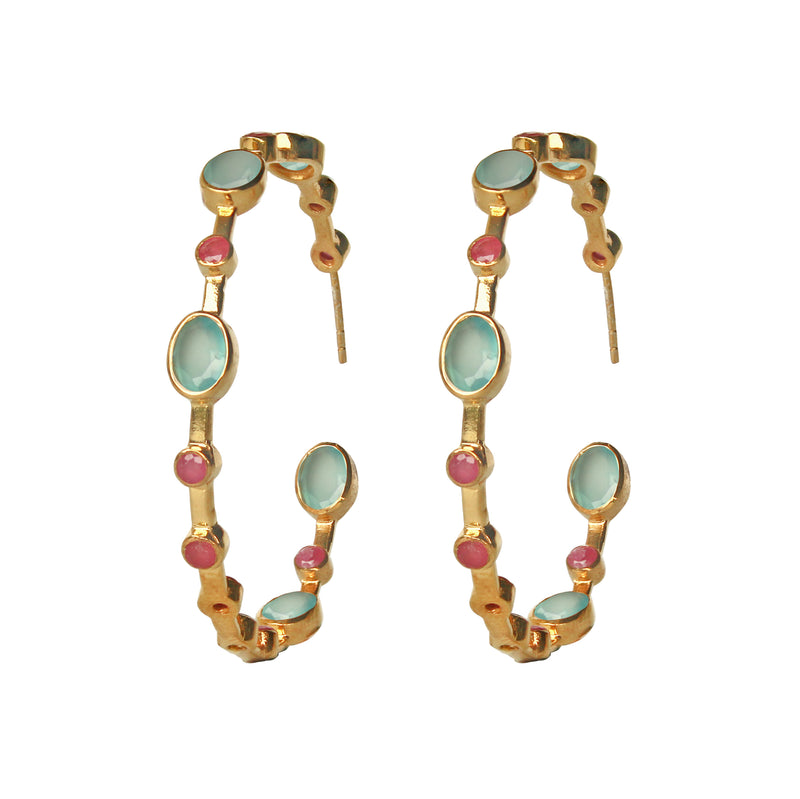 Earrings - Aqua Chalcedony & Ruby Hoops