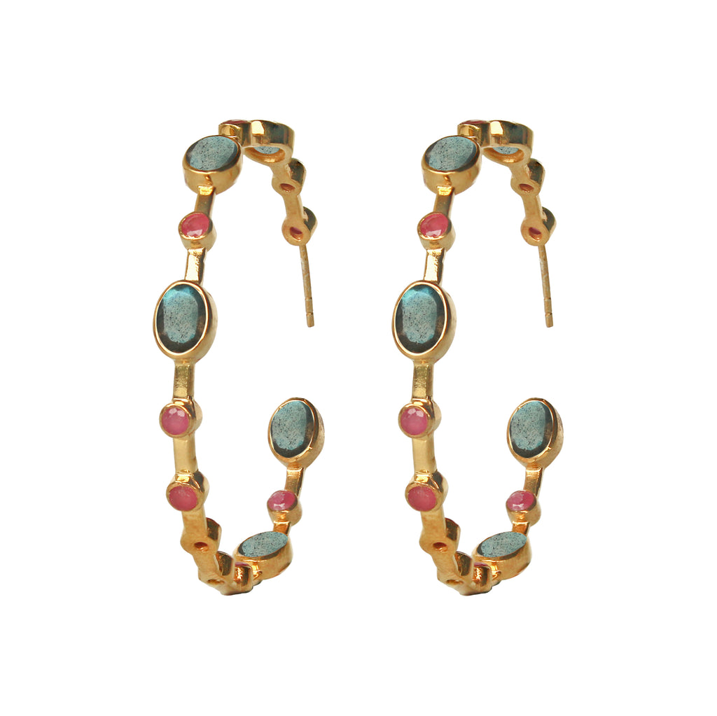 Earrings - Labradorite & Ruby Hoops