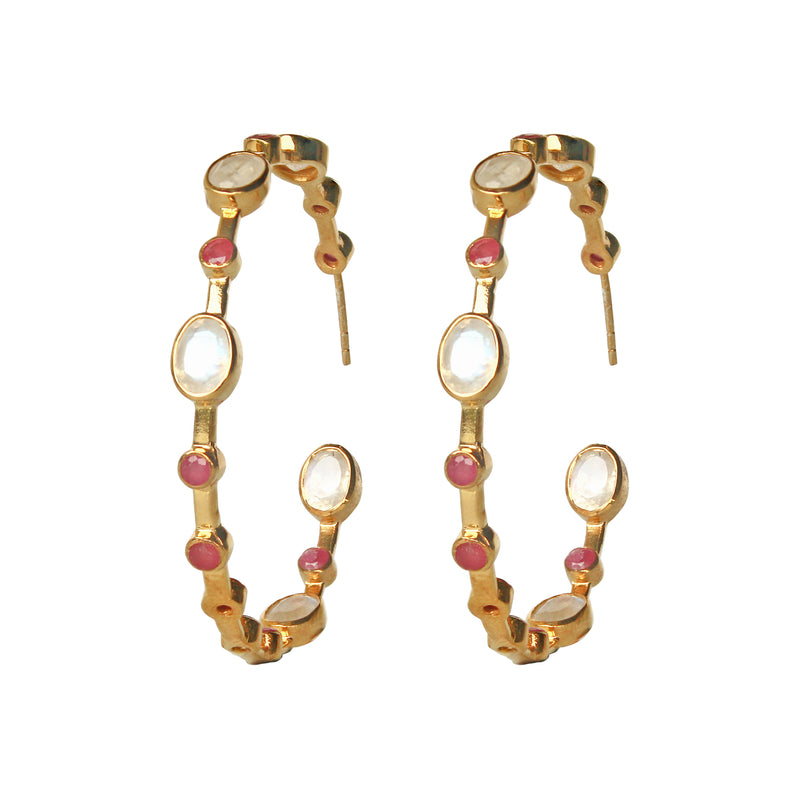 Earrings - Moonstone & Ruby Hoops