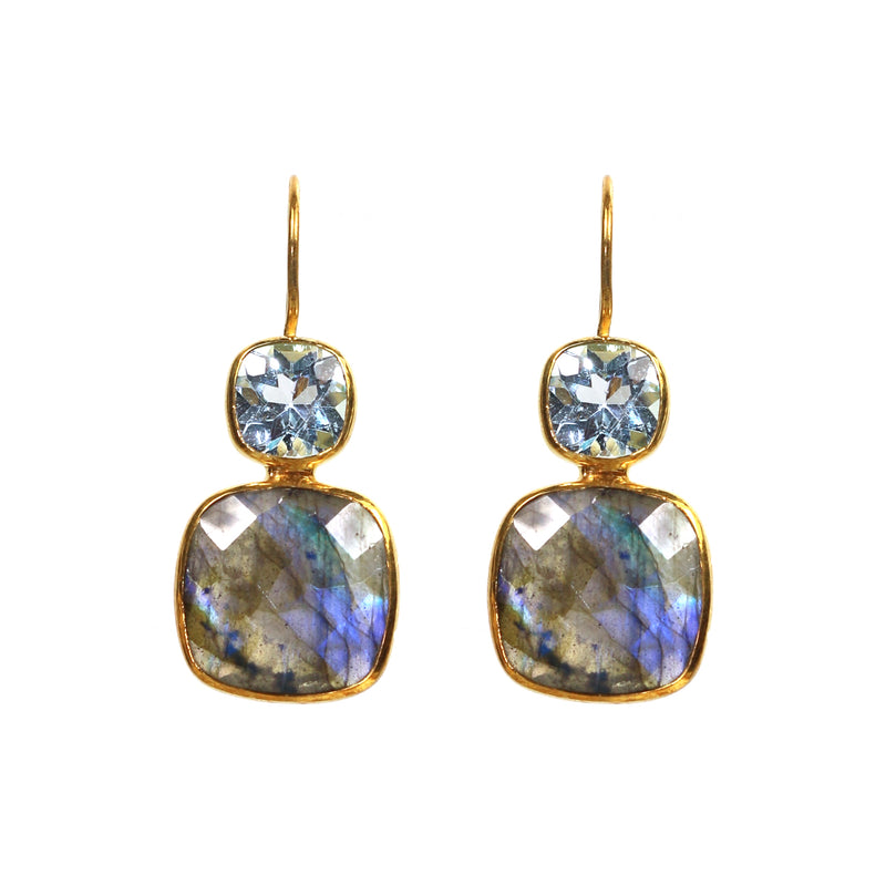Earrings - Labradorite & Blue Topaz Drops