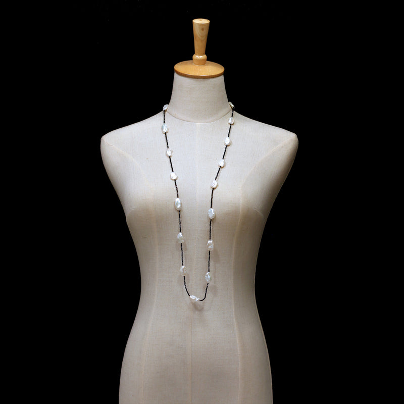 Necklace - White Baroque Pearls with Black Spinel