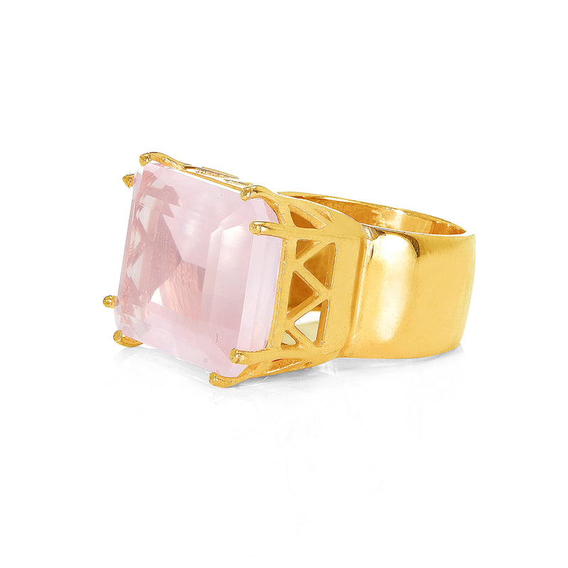 Ring - Rose Quartz Cocktail RIng