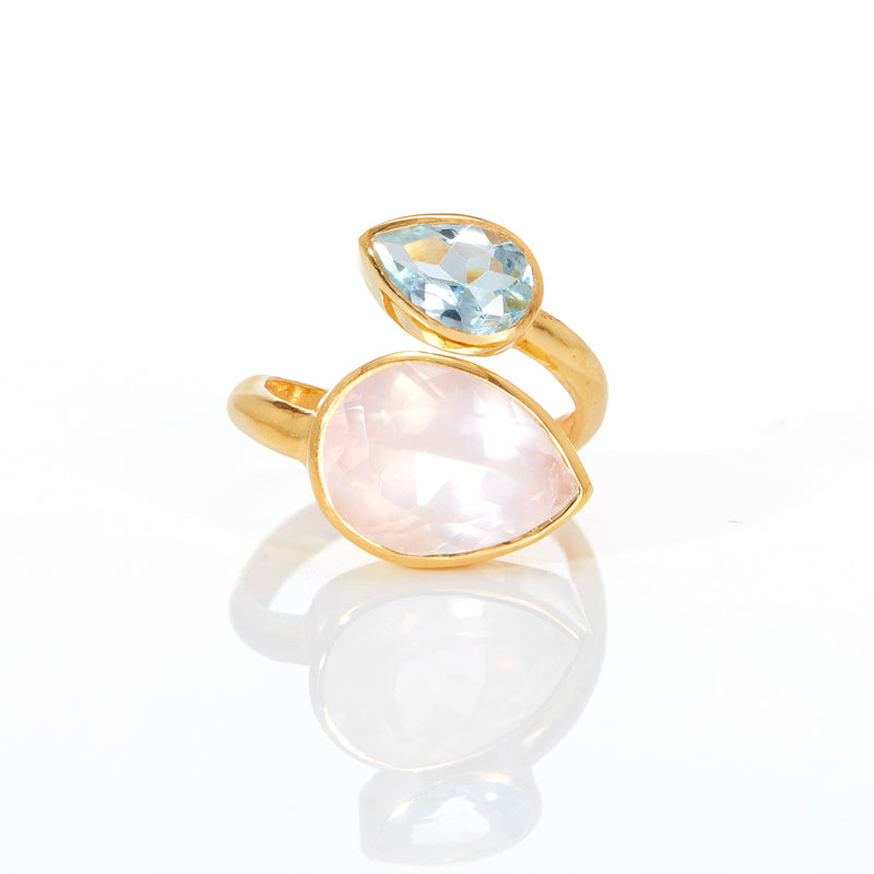 Ring - Rose Quartz & Blue Topaz