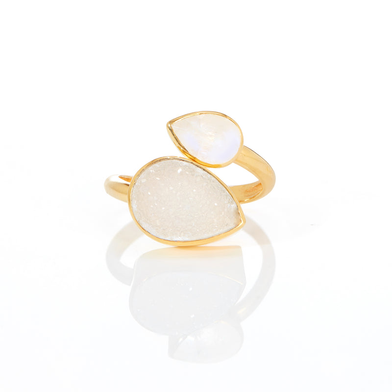 Ring - White Agate Druzy & Moonstone