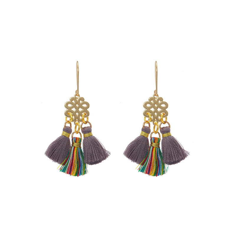 Earrings - Mini Tassel - Colored Smoke