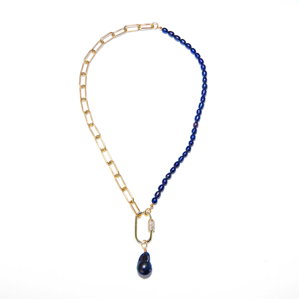 Necklace - Black Pearl with Gold Chain