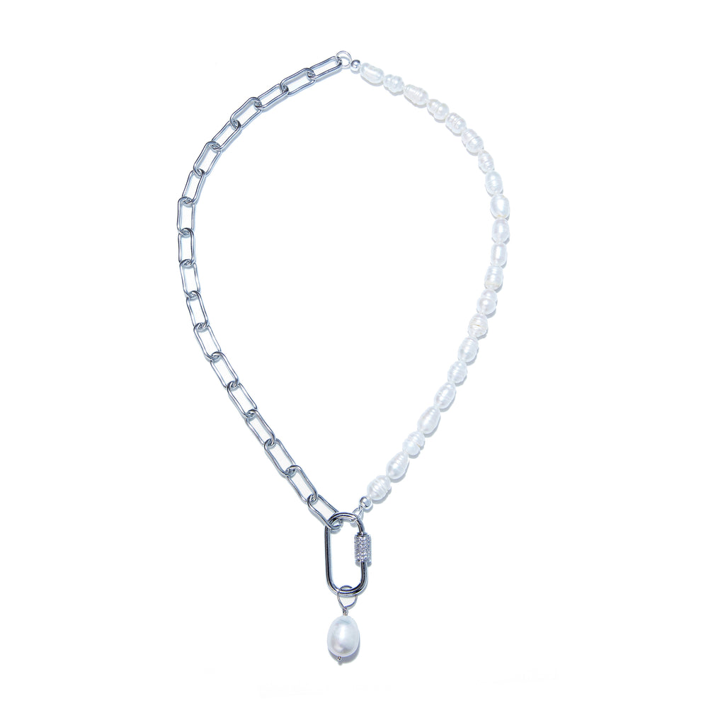 Necklace - White Pearl with Silver Chain