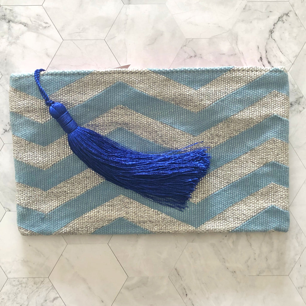 Clutch Bag - Baby Blue & Silver with Cobalt Tassel