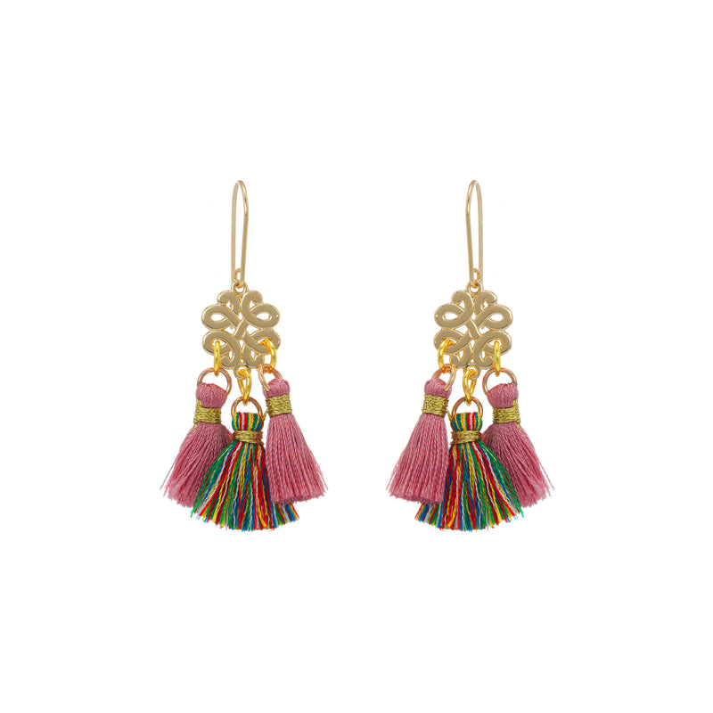 Earrings - Mini Tassel - Dusty Rose