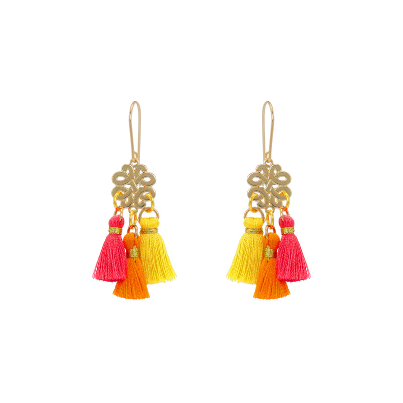 Earrings - Mini Tassel - Florida Sunset