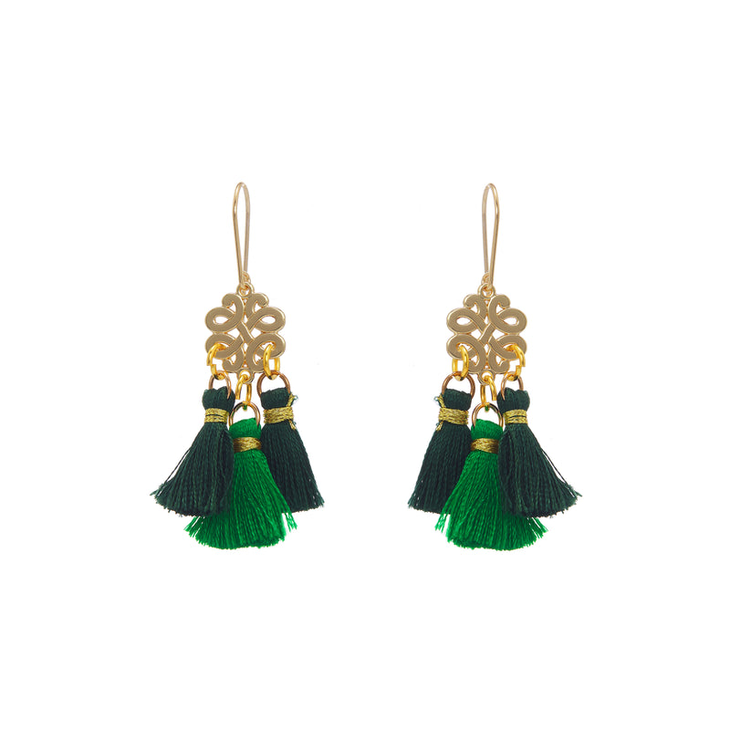 Earrings - Mini Tassel - Green Leaf
