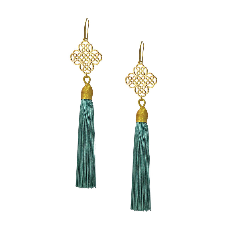 Earrings - Maxi Tassel - Chevy Green