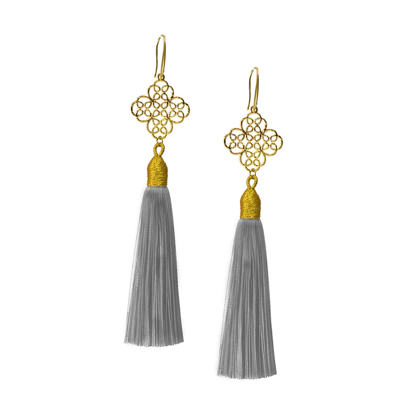 Earrings - Maxi Tassel - Dove Grey