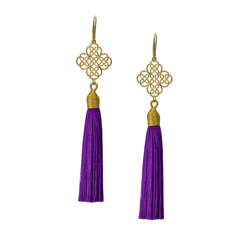 Earrings - Maxi Tassel - Heliotrope