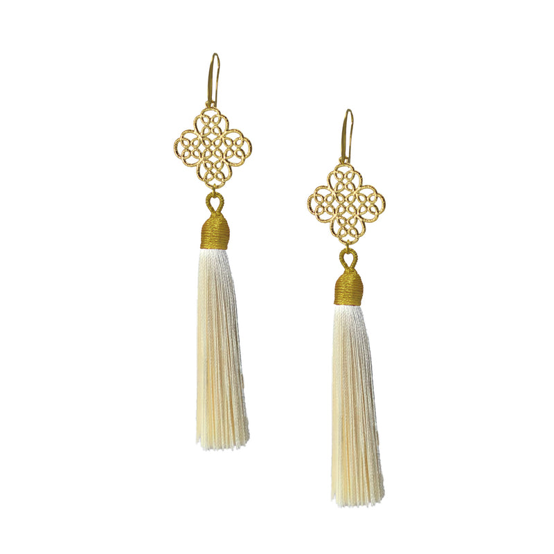 Earrings - Maxi Tassel - Ivory