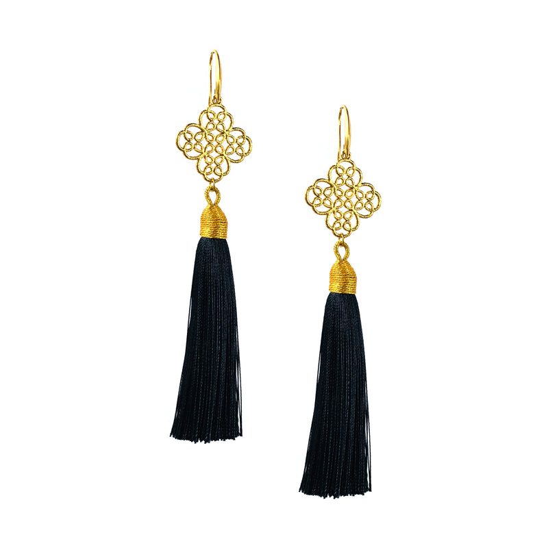 Earrings - Maxi Tassel - Jet
