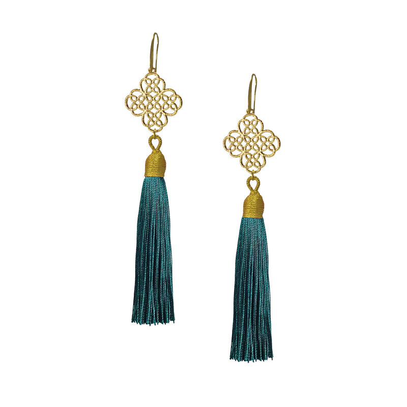 Earrings - Maxi Tassel - Jungle Green