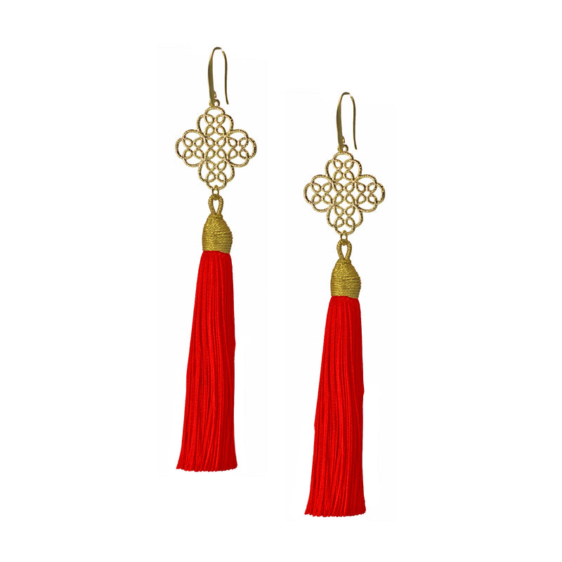 Earrings - Maxi Tassel - Scarlet