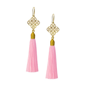 Earrings - Maxi Tassel - Baby Pink
