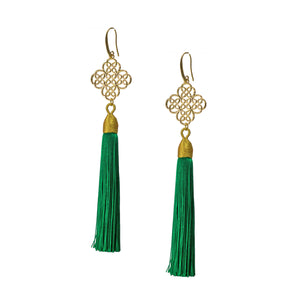 Earrings - Maxi Tassel - Emerald