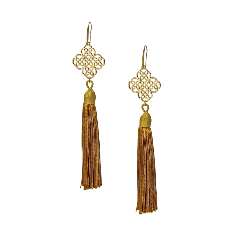 Earrings - Maxi Tassel - Mustard