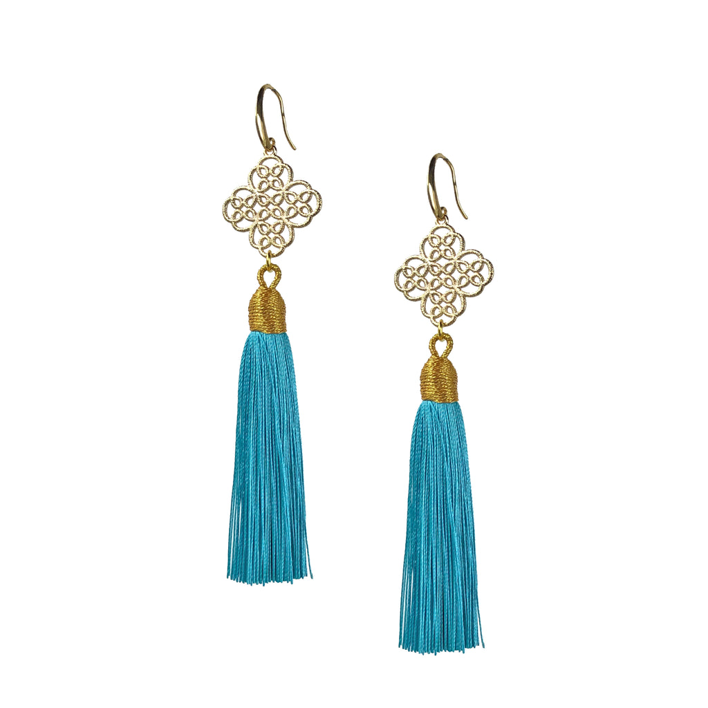 Earrings - Maxi Tassel - Sky