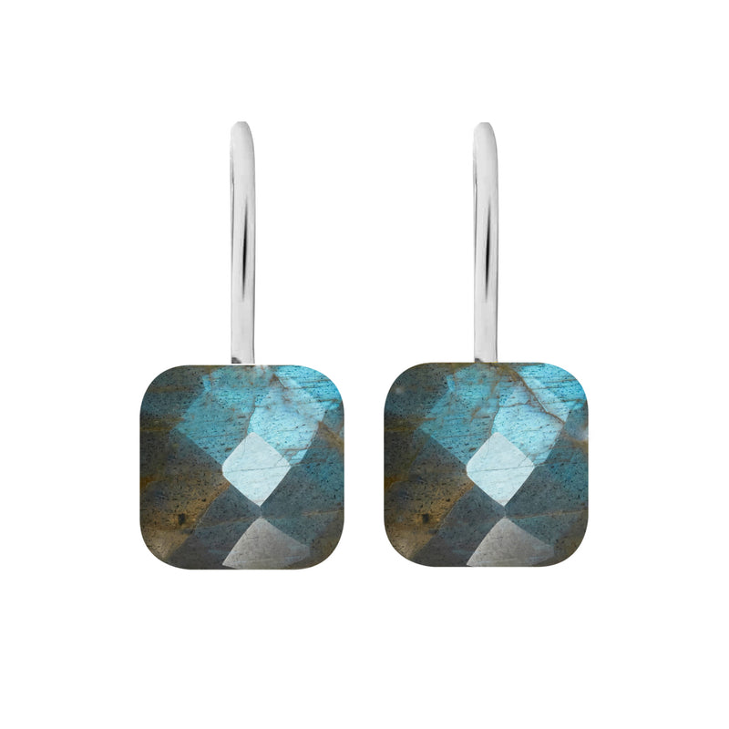 Earrings - Naked 2 in Labradorite - Rhodium
