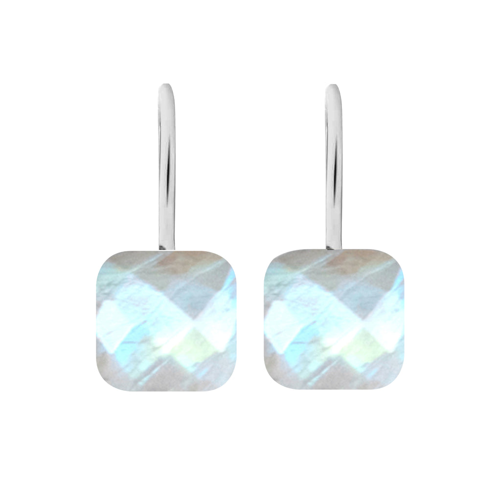 Earrings - Naked 2 in Moonstone - Rhodium