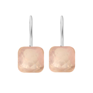 Earrings - Naked 2 in Rose Quartz - Rhodium