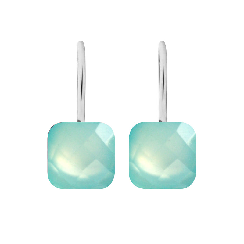 Earrings - Naked 2 in Aqua Chalcedony - Rhodium