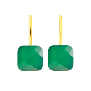 Earrings - Naked 2 in Green Onyx