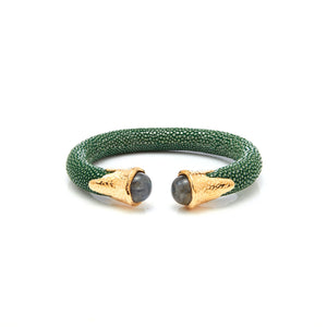 Cuff - Jade Stingray leather with Gemstones