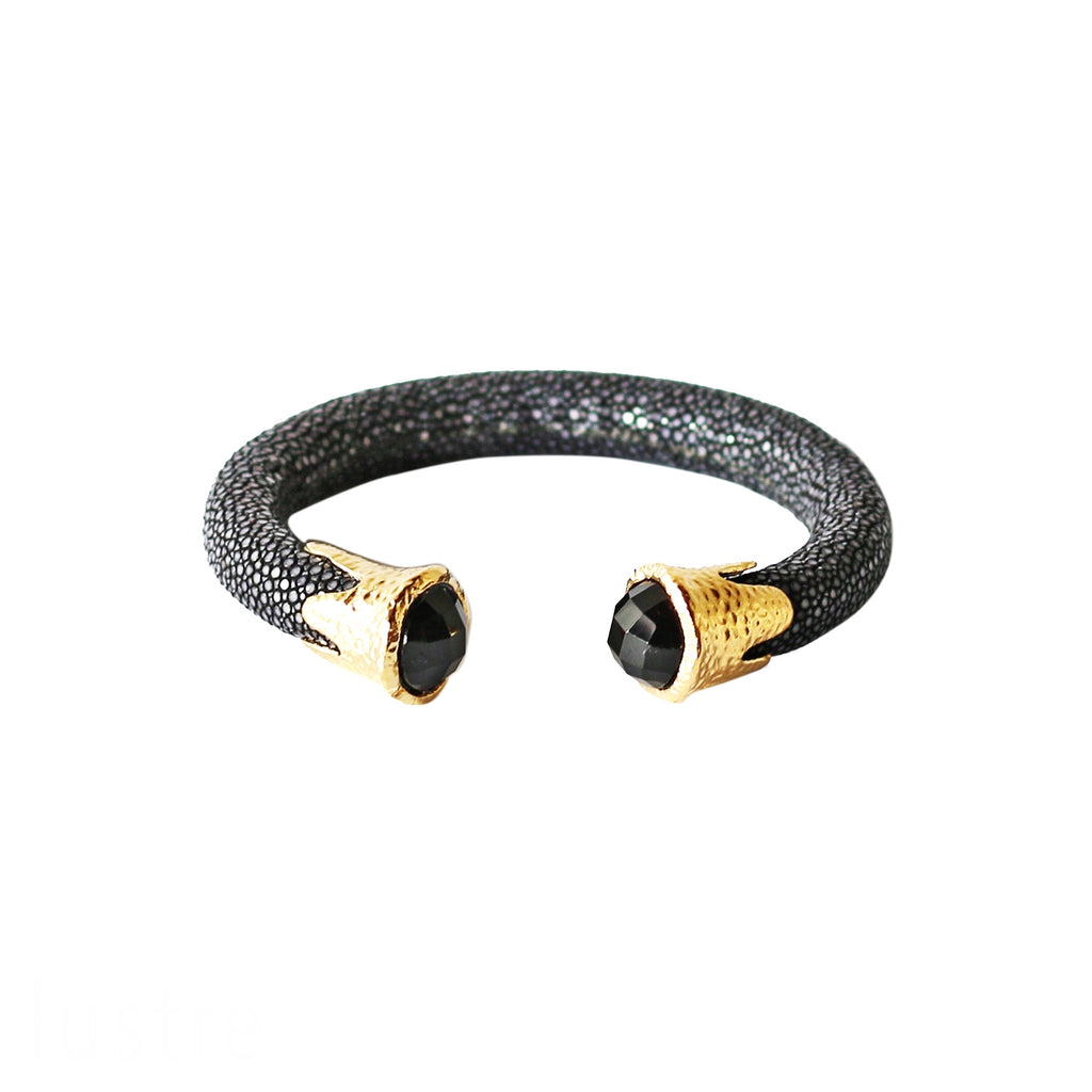 Cuff - Black Stingray leather with Gemstones