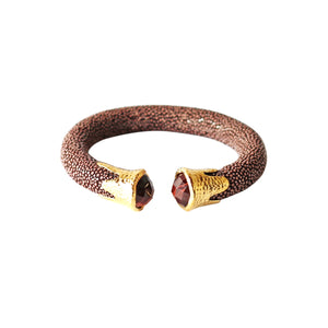 Cuff - Chocolate Stingray leather with Gemstones