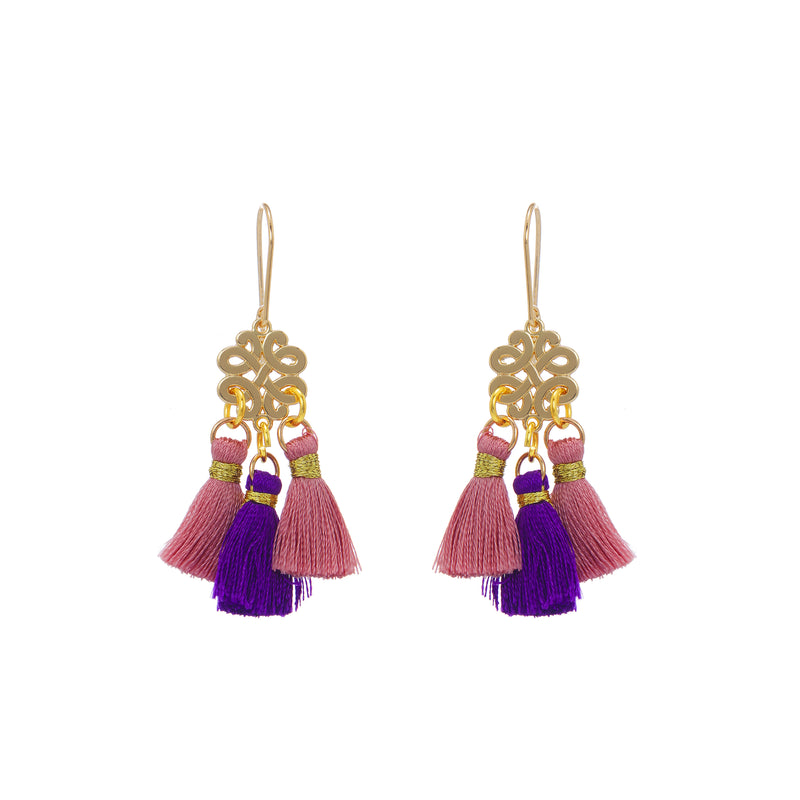 Earrings - Mini Tassel - Onion PInks