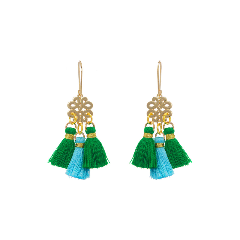 Earrings - Mini Tassel - Rolling Fields