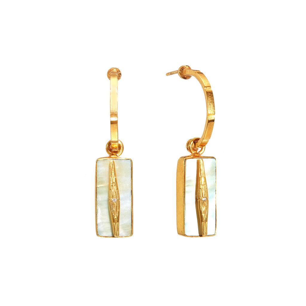 Earrings - Bamboo Nacre Hoop
