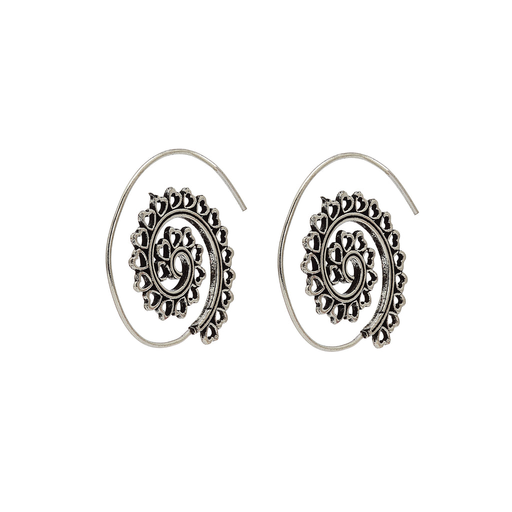 Earrings - Universe Mandala Spiral - Silver