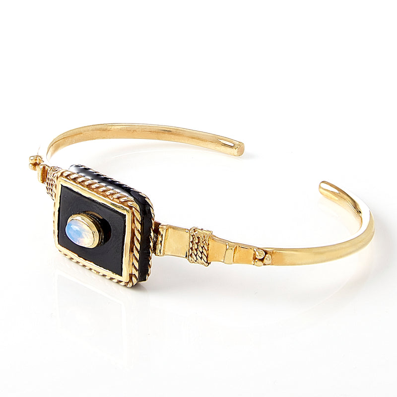 Cuff - Solitude -  Shanti in Black Onyx Rectangle