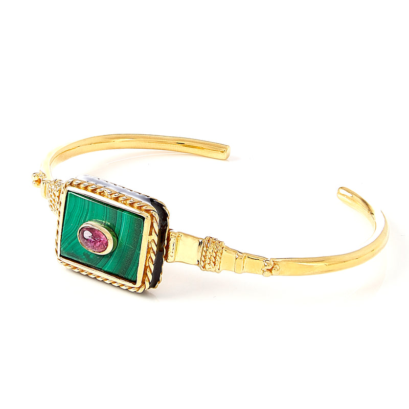 Cuff - Solitude -  Shanti in Malachite Rectangle