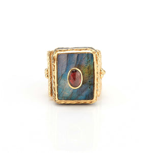Ring - Solitude -  Shanti in Labradorite Rectangle