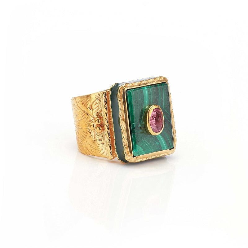 Ring - Solitude -  Shanti in Malachite Rectangle