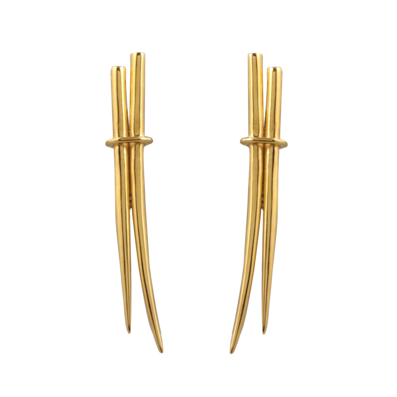 Earrings - Stiletto Double Dagger