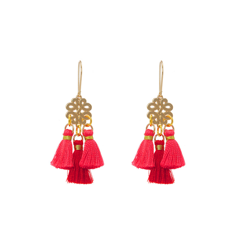 Earrings - Mini Tassel - Sunset at Noon