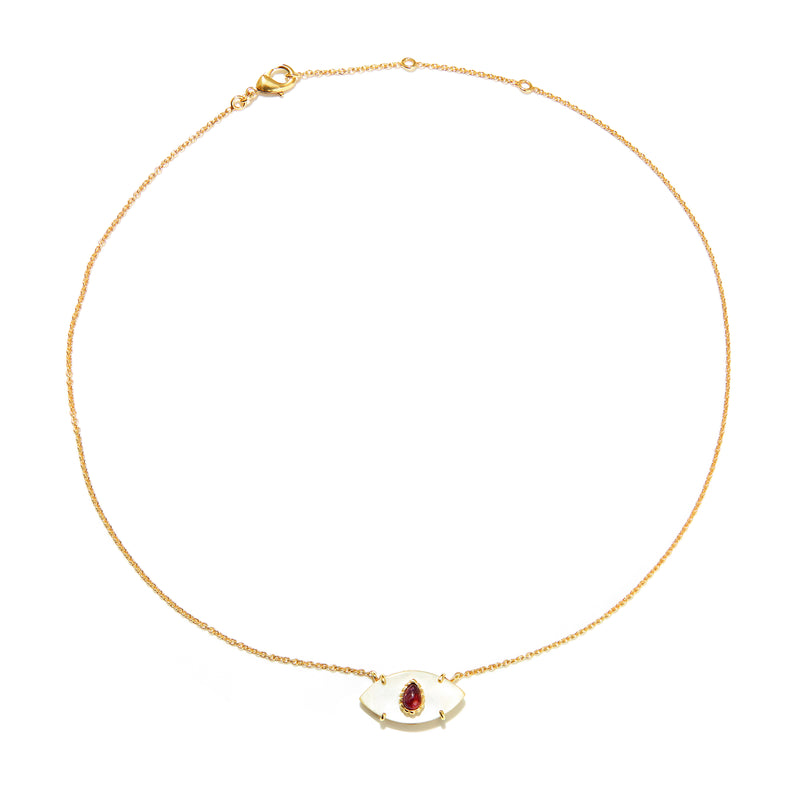 Necklace - Nacre & Ruby Evil Eye