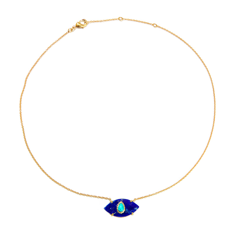 Necklace - Lapis & Turquoise Evil Eye